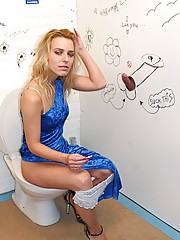 Peeing blonde girl enjoys a big gloryhole erection to use
