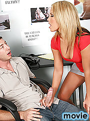 Kiara begins her new job as a phone sex operator and does a bang up job. Jordan a co-worker is infatuated by her dirty mouth and decides to place an anonymous call to get a taste for himself. When she finds out that it's Jordan calling her she shows him t