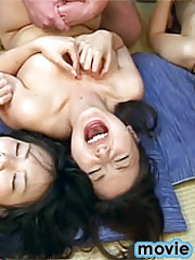 Three hot Japanese teens fucked very hard in groupsex party