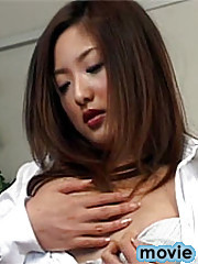 Horny Japanese stud pleasing her thight hairy pussyhole