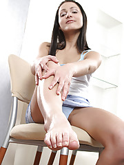Teen foot playing and masturbation